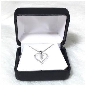 Genuine Diamond Pendant Necklace Sterling Silver